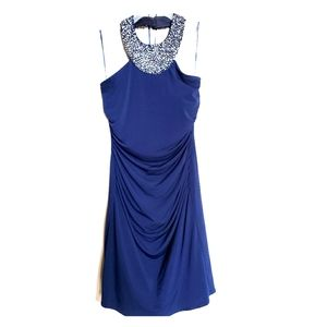 JS Boutique Navy bodycon sequin halter dress